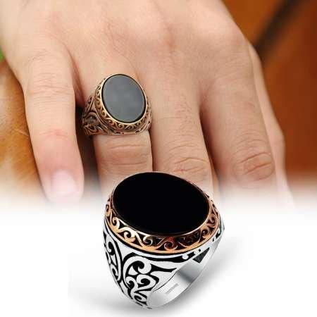Siyah Oval Oniks Taşlı 925 Ayar Gümüş Erkek Yüzük - Thumbnail