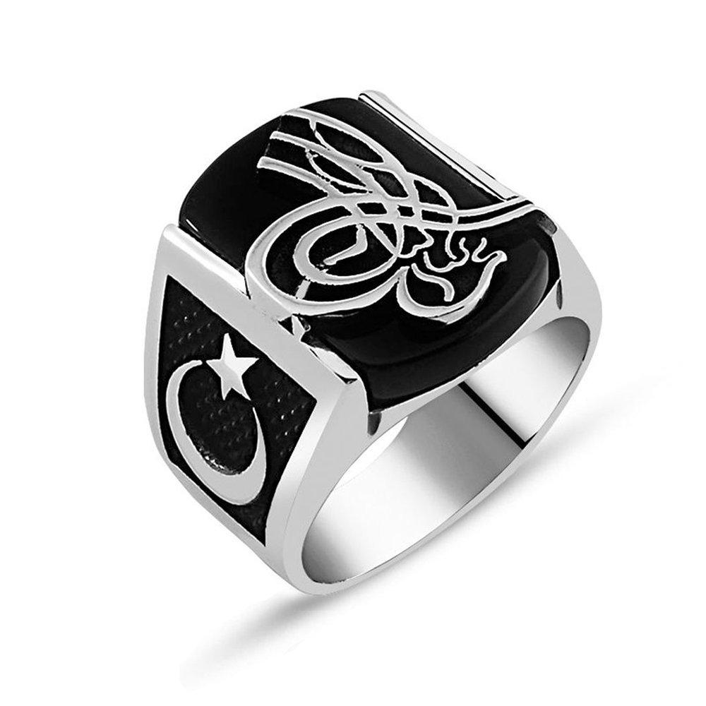 925 Ayar Gümüş Oniks Taşlı Tuğra İşlemeli Yüzük