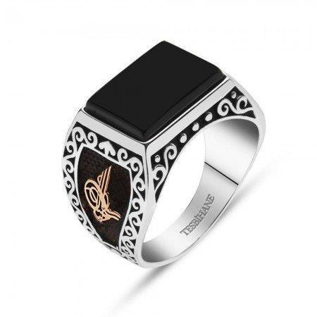925 Ayar Gümüş Oniks Taşlı Tuğra ve Armalı Yüzük - Thumbnail