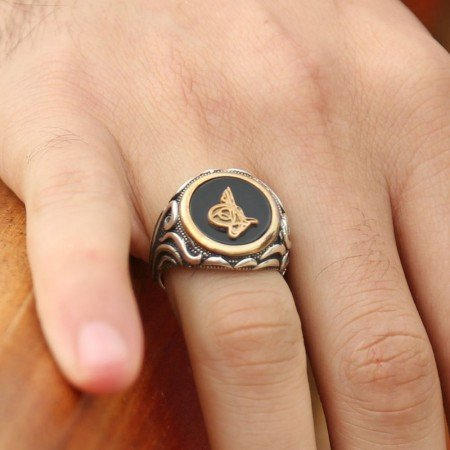 925 Ayar Gümüş Oniks Taşlı Tuğralı Yüzük - Thumbnail