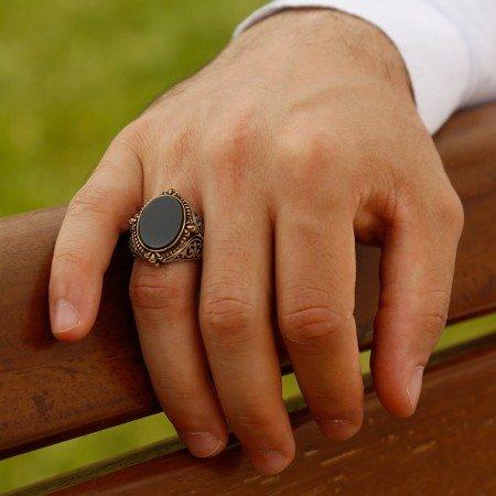 925 Ayar Gümüş Oniks Taşlı Yüzük (M-5) - Thumbnail