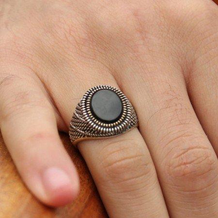 925 Ayar Gümüş Oniks Taşlı Yüzük (M-4) - Thumbnail
