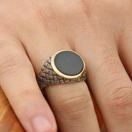 925 Ayar Gümüş Oniks Taşlı Yüzük (M-3) - Thumbnail
