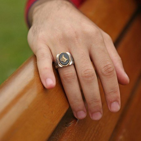 925 Ayar Gümüş Oniks Taşlı Yüzük - Thumbnail