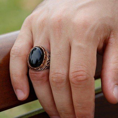 Siyah Oniks Taşlı 925 Ayar Gümüş Erkek Yüzük - Thumbnail