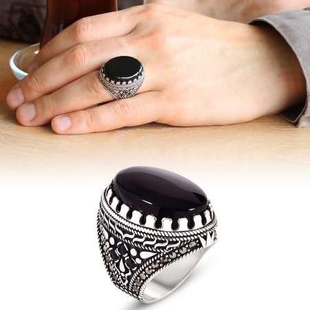 Hediye Kutulu Siyah Oniks Taşlı 925 Ayar Gümüş Erkek Yüzük - Thumbnail