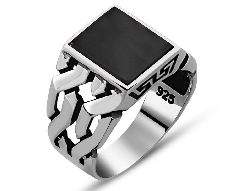 Zincir Tasarım Siyah Oniks Taşlı 925 Ayar Gümüş Erkek Yüzük