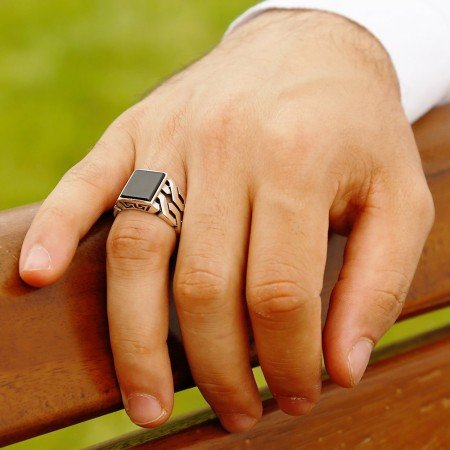 Zincir Tasarım Siyah Oniks Taşlı 925 Ayar Gümüş Erkek Yüzük - Thumbnail