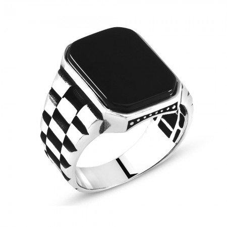 Simetrik Desen İşlemeli Siyah Oniks Taşlı 925 Ayar Gümüş Erkek Yüzük - Thumbnail