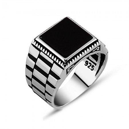 Simetrik Desenli Siyah Oniks Taşlı 925 Ayar Gümüş Erkek Yüzük - Thumbnail