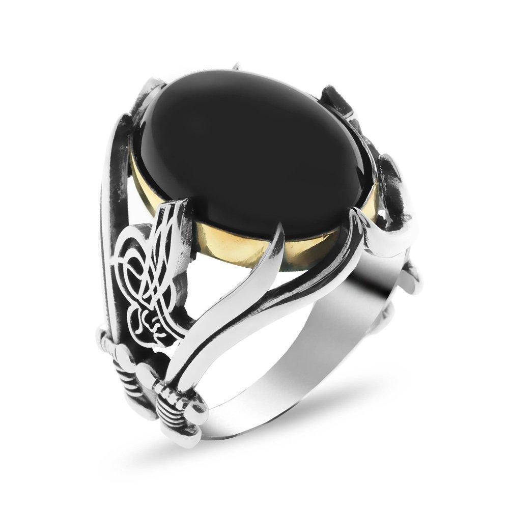 Tuğra ve Kılıç İşlemeli Siyah Oniks Taşlı 925 Ayar Gümüş Erkek Yüzük