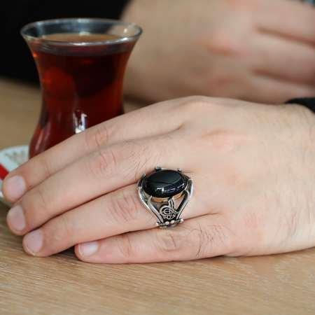 Tuğra ve Kılıç İşlemeli Siyah Oniks Taşlı 925 Ayar Gümüş Erkek Yüzük - Thumbnail