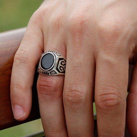 925 Ayar Gümüş Oniks Taşlı Yüzük (model-7) - Thumbnail