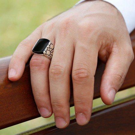 Dörtgen Siyah Oniks Taşlı 925 Ayar Gümüş Erkek Yüzük - Thumbnail