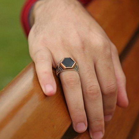 925 Ayar Gümüş Oniks ve Zirkon Taşlı Özel model Yüzük - Thumbnail