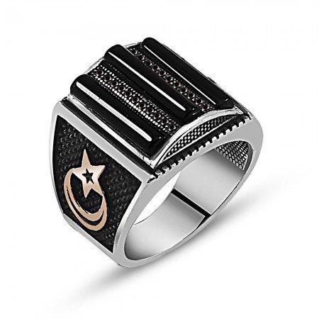 925 Ayar Gümüş Oniks Zirkon Taşlı Yüzük (model 2) - Thumbnail