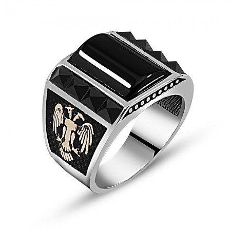 925 Ayar Gümüş Oniks Zirkon Taşlı Yüzük (model 3) - Thumbnail