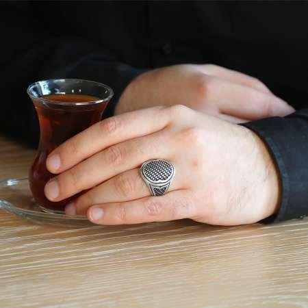 Örgü Desenli 925 Ayar Gümüş Erkek Yüzük - Thumbnail