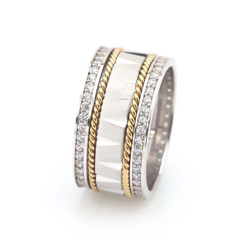 Çift Sıra Örgü Tasarım Zirkon Taş İşlemeli 925 Ayar Gümüş Bayan Alyans