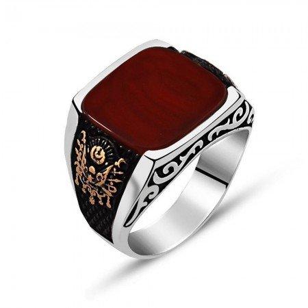 925 Ayar Gümüş Osmanlı Arma Detaylı Kırmızı Akik Taşlı Yüzük - Thumbnail
