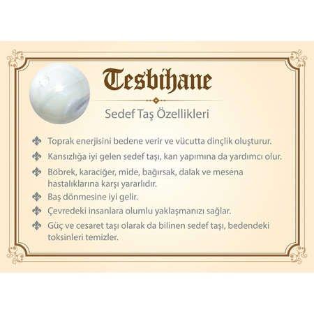 925 Ayar Gümüş Arma Püsküllü Küre Kesim Beyaz Sedef Doğaltaş Tesbih - Thumbnail