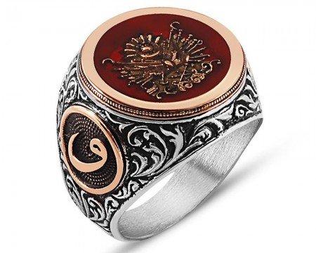 925 Ayar Gümüş Osmanlı Arma İşlemeli Kırmızı Mineli Yüzük - Thumbnail