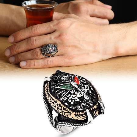 Osmanlı Devlet Armalı Pençe Tasarım 925 Ayar Gümüş Erkek Yüzük - Thumbnail