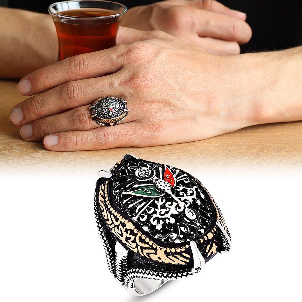 Osmanlı Devlet Armalı Pençe Tasarım 925 Ayar Gümüş Erkek Yüzük