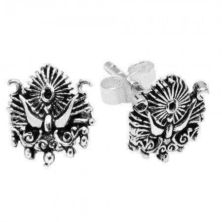 Osmanlı Arması Tasarım 925 Ayar Gümüş Küpe - Thumbnail