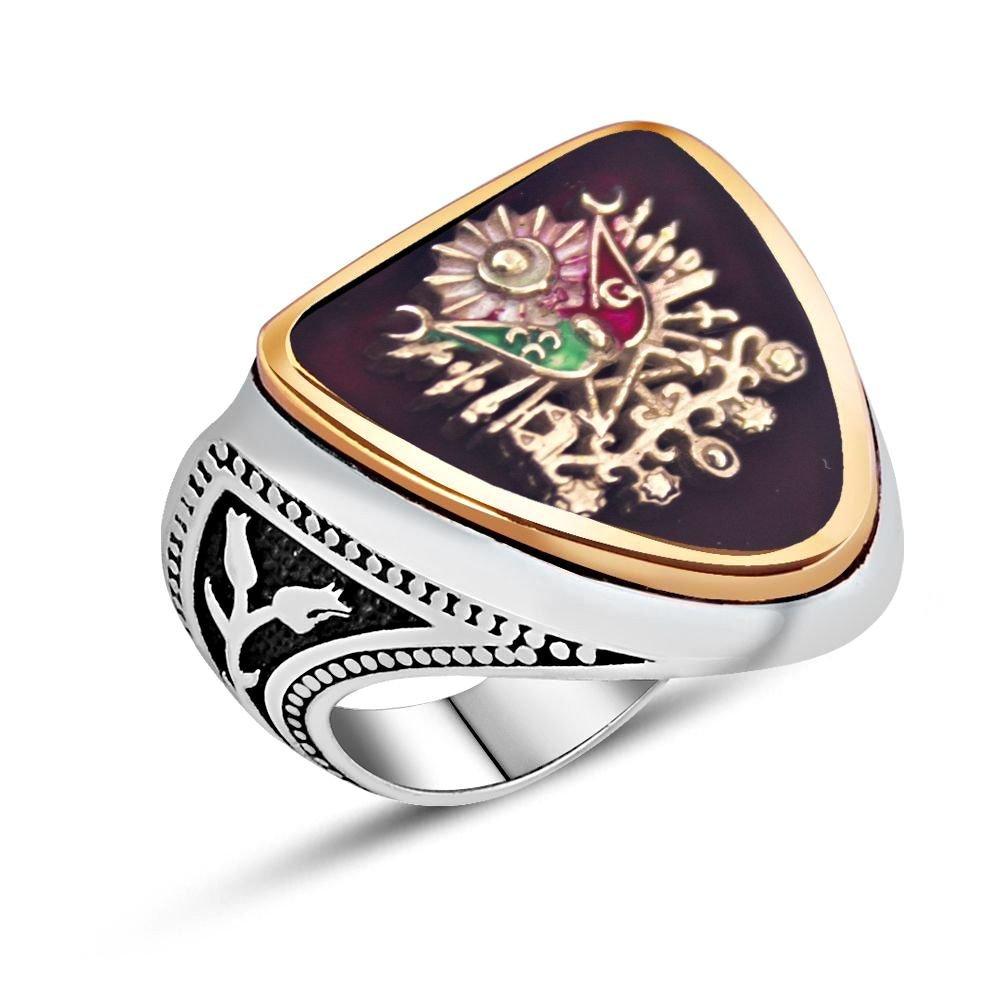 925 Ayar Gümüş Osmanlı Arması Kırmızı Mineli Zihgir Yüzüğü