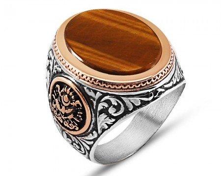 925 Ayar Gümüş Osmanlı Sancağı Detaylı Kaplangözü Yüzük - Thumbnail