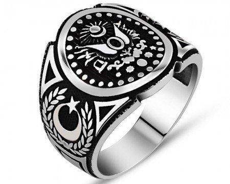 925 Ayar Gümüş Osmanlı Sancağı Yüzük - Thumbnail