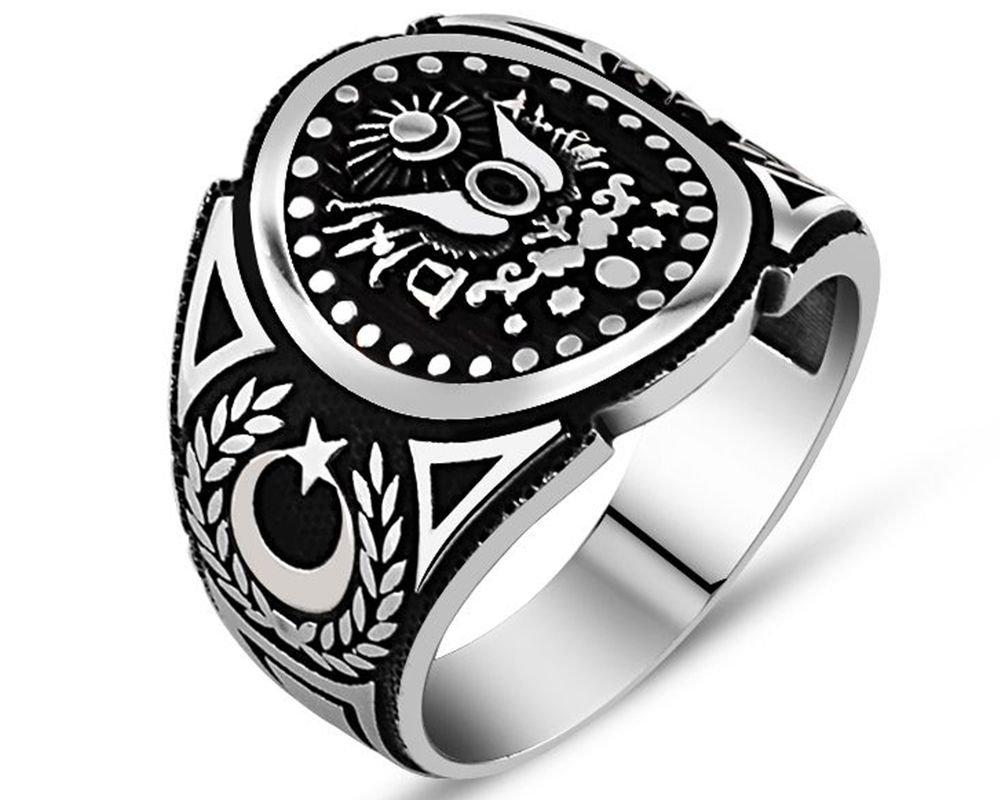 925 Ayar Gümüş Osmanlı Sancağı Yüzük