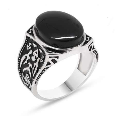 925 Ayar Gümüş Otantik Desenli Oniks Taşlı Yüzük - Thumbnail