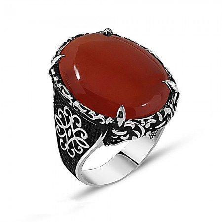 Otantik İşlemeli Kırmızı Akik Taşlı 925 Ayar Gümüş Erkek Yüzük - Thumbnail
