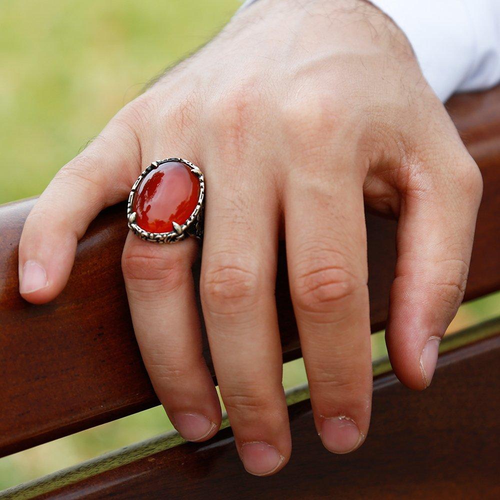 Otantik İşlemeli Kırmızı Akik Taşlı 925 Ayar Gümüş Erkek Yüzük
