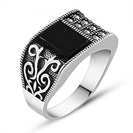 925 Ayar Gümüş Otantik İşlemeli Oniks Taşlı Yüzük - Thumbnail