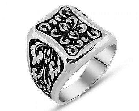 925 Ayar Gümüş Otantik İşlemeli Yüzük - Thumbnail