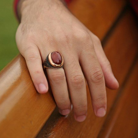 925 Ayar Gümüş Oval Akik Taşlı Özel Model Yüzük - Thumbnail