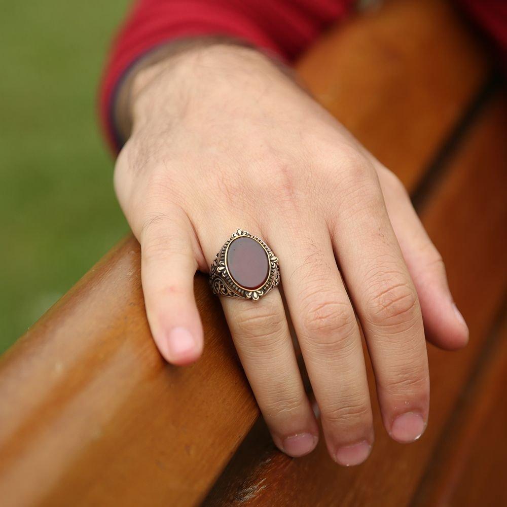 925 Ayar Gümüş Oval Akik Taşlı Yüzük