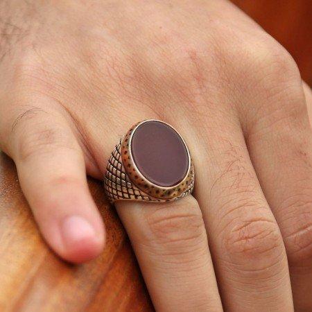 925 Ayar Gümüş Oval Akik Taşlı Yüzük - Thumbnail