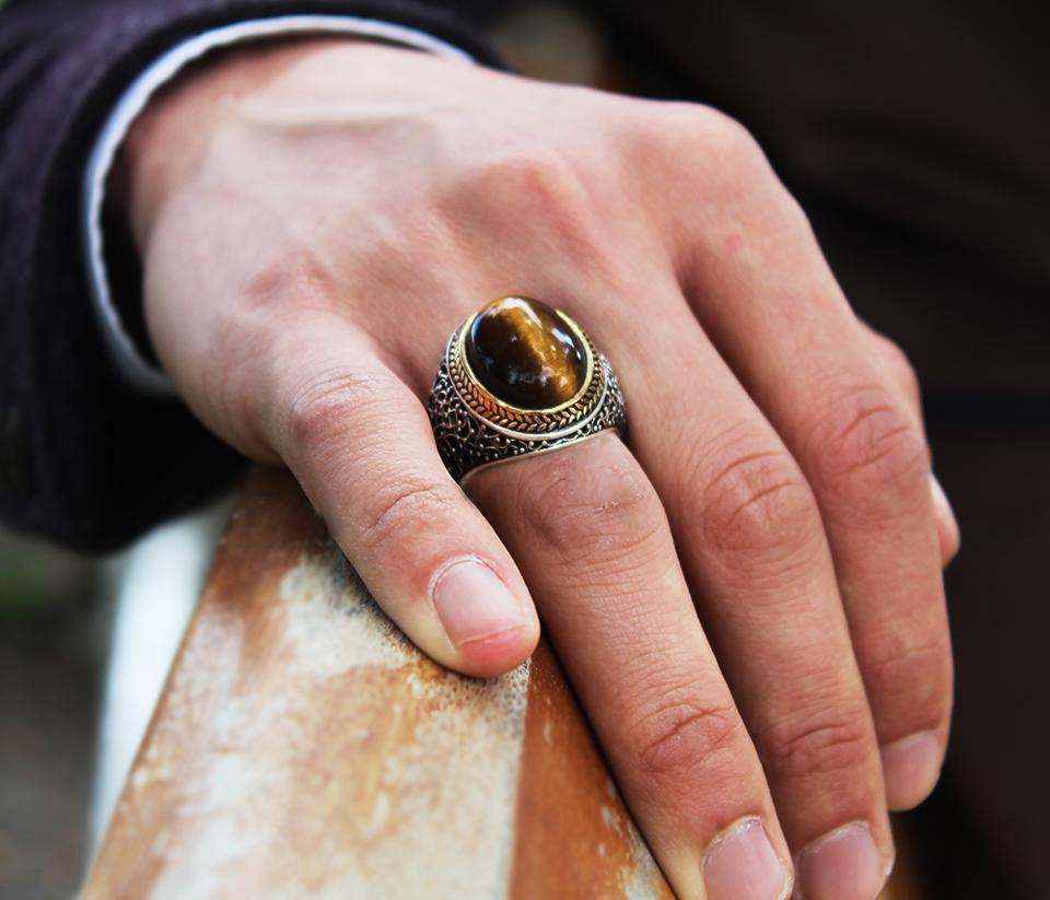 Özel Tasarım Kahverengi Kaplangözü Taşlı 925 Ayar Gümüş Erkek Yüzük