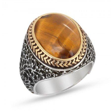 Özel Tasarım Kahverengi Kaplangözü Taşlı 925 Ayar Gümüş Erkek Yüzük - Thumbnail