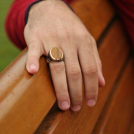 925 Ayar Gümüş Oval Kaplangözü Taşlı Yüzük - Thumbnail