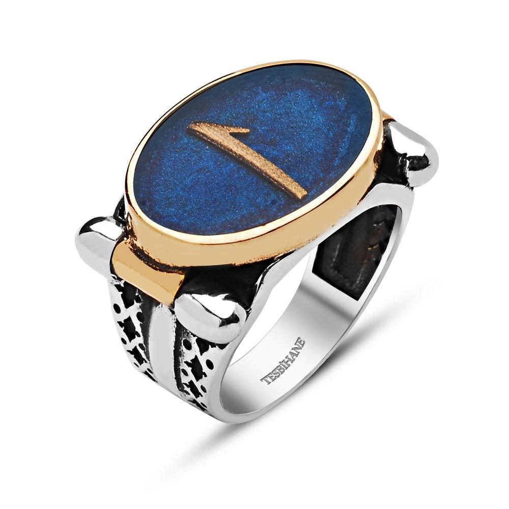 925 Ayar Gümüş Oval Mavi Mine Üzerine Elif Harfli Yüzük
