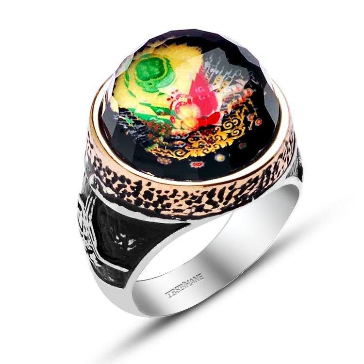925 Ayar Gümüş Oval Model Armalı Kristalize Taş Yüzük