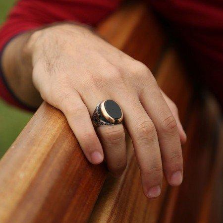 925 Ayar Gümüş Oval Model Oniks Taşlı Yüzük - Thumbnail