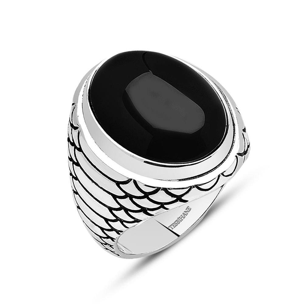 925 Ayar Gümüş Oval Oniks Taşlı Yüzük