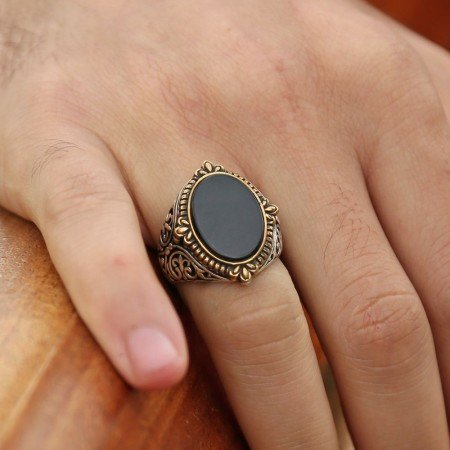 925 Ayar Gümüş Oval Oniks Taşlı Yüzük - Thumbnail