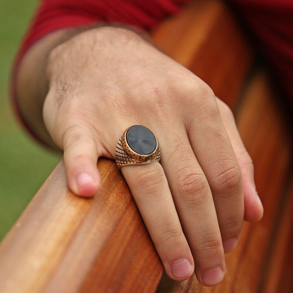 Baklava Desen İşlemeli Oniks Taşlı 925 Ayar Gümüş Erkek Yüzük